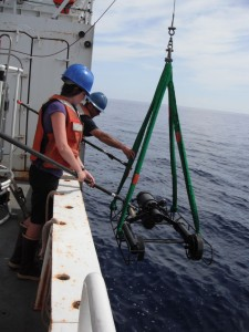 Lowering the VPR into the water on the R/V Endeavor